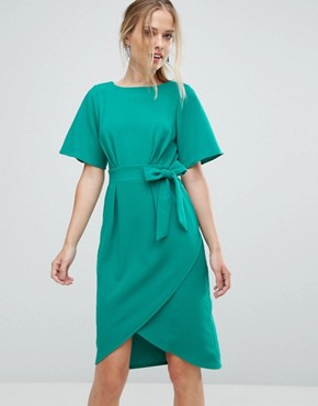 photo Tie Front Dress with Kimono Sleeve by Closet London, color Green - Image 1