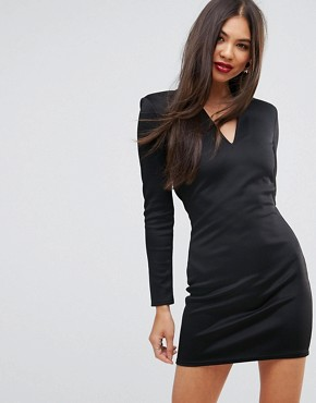 photo Open Back Mini Dress with Shoulder Pads by Missguided, color Black - Image 2
