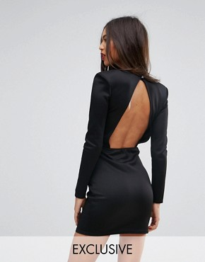 photo Open Back Mini Dress with Shoulder Pads by Missguided, color Black - Image 1