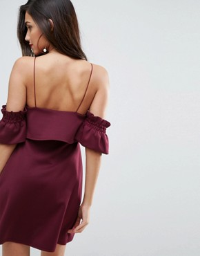 photo Crop Top Ruffle Sleeve Mini Dress by ASOS, color Oxblood - Image 2