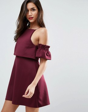 photo Crop Top Ruffle Sleeve Mini Dress by ASOS, color Oxblood - Image 1