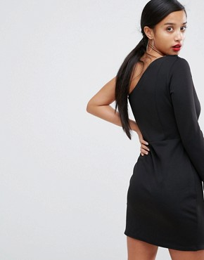photo Double Split One Shoulder Mini Dress by ASOS PETITE, color Black - Image 2