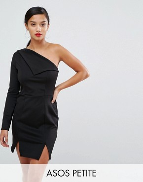 photo Double Split One Shoulder Mini Dress by ASOS PETITE, color Black - Image 1