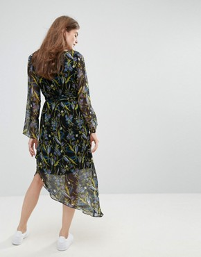 photo Ebony Floral Print Asymmetric Hem Dress by Gestuz, color Black Flower - Image 2