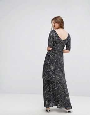photo Tiered Maxi Dress in Celestial Print by Lily and Lionel, color Black - Image 2