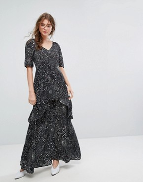 photo Tiered Maxi Dress in Celestial Print by Lily and Lionel, color Black - Image 1