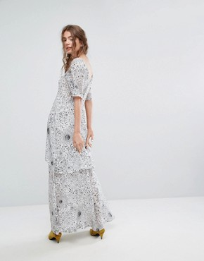 photo Tiered Maxi Dress in Celestial Print by Lily and Lionel, color White - Image 2