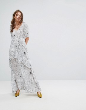 photo Tiered Maxi Dress in Celestial Print by Lily and Lionel, color White - Image 1