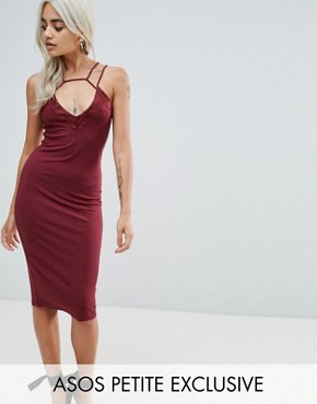 photo Lace Trim Cut Out Midi Dress by ASOS PETITE, color Burgundy - Image 1