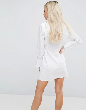 photo Cotton Shirt Dress with Pearl Detail by ASOS PETITE, color White - Image 2