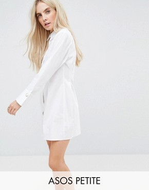 photo Cotton Shirt Dress with Pearl Detail by ASOS PETITE, color White - Image 1