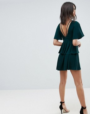 photo Cut Out Fluted Sleeve Tiered Skater Mini Dress by ASOS, color Green - Image 2