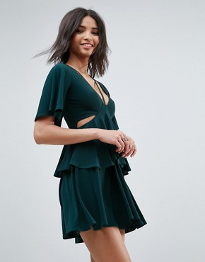 photo Cut Out Fluted Sleeve Tiered Skater Mini Dress by ASOS, color Green - Image 1
