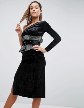 photo One Shoulder Belted Metallic Waist Midi Dress by ASOS, color Black - Image 1