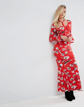 photo Maxi Tea Dress with Neck Tie in Red Floral by ASOS, color Red Floral - Image 4