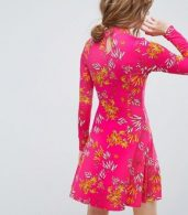 photo Mini Tea Dress with High Neck in Pink Bamboo Print by ASOS, color Bamboo Print - Image 2
