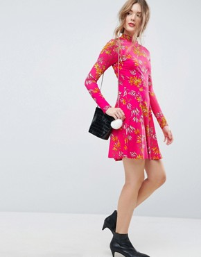 photo Mini Tea Dress with High Neck in Pink Bamboo Print by ASOS, color Bamboo Print - Image 4