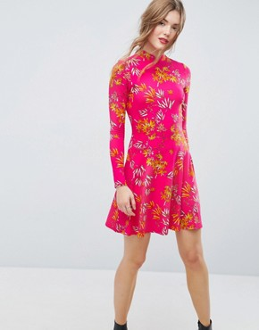 photo Mini Tea Dress with High Neck in Pink Bamboo Print by ASOS, color Bamboo Print - Image 1