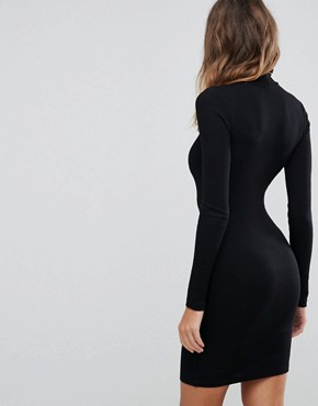 photo Mini Rib Bodycon Dress with Polo Neck by ASOS TALL, color Black - Image 2