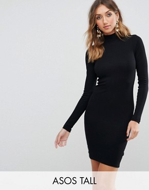 photo Mini Rib Bodycon Dress with Polo Neck by ASOS TALL, color Black - Image 1