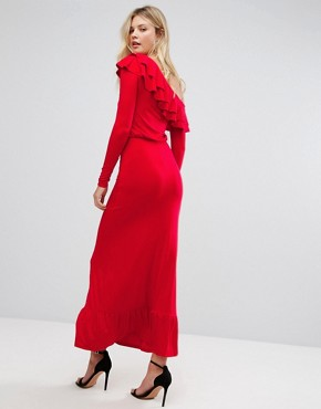 photo Salsa One Shoulder Maxi Dress by ASOS TALL, color Red - Image 2
