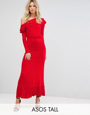photo Salsa One Shoulder Maxi Dress by ASOS TALL, color Red - Image 1