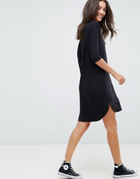 photo Oversize T-Shirt Dress with Seam Detail by ASOS TALL, color Black - Image 2