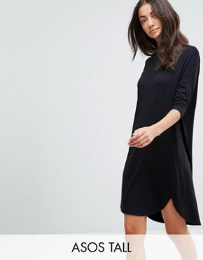 photo Oversize T-Shirt Dress with Seam Detail by ASOS TALL, color Black - Image 1