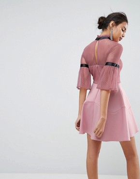 photo Dobby High Neck Fluted Sleeve Mini Skater Dress by ASOS, color Dusky Pink - Image 2