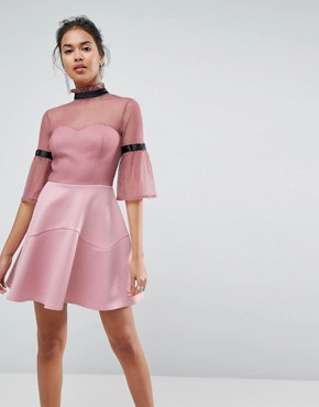 photo Dobby High Neck Fluted Sleeve Mini Skater Dress by ASOS, color Dusky Pink - Image 1