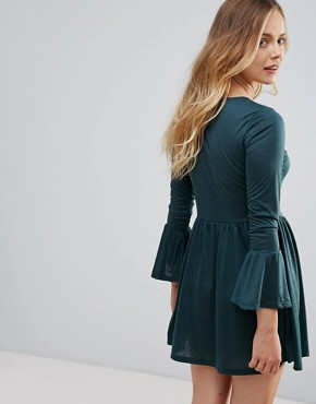 photo Flare Sleeve Jersey Dress by Brave Soul, color Forest Green - Image 2