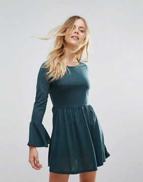 photo Flare Sleeve Jersey Dress by Brave Soul, color Forest Green - Image 1