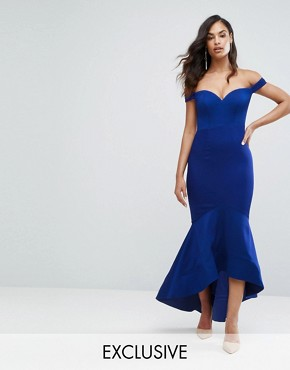 photo Off Shoulder Sweetheart Maxi Dress by Bariano, color Rich Indigo - Image 1