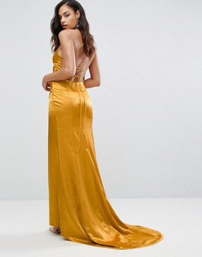 photo Drape Satin Gown with Strappy Back by Bariano, color Gold - Image 2