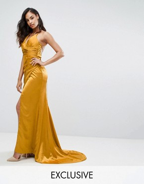 photo Drape Satin Gown with Strappy Back by Bariano, color Gold - Image 1