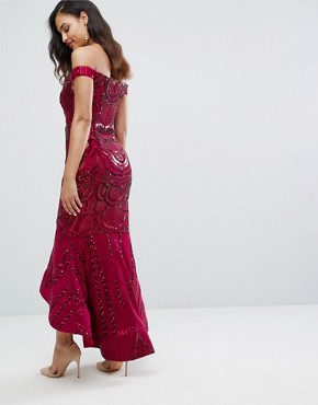 photo Off Shoulder Sweetheart Sequin Maxi Dress by Bariano, color Garnet Sequin - Image 2