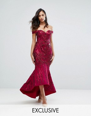photo Off Shoulder Sweetheart Sequin Maxi Dress by Bariano, color Garnet Sequin - Image 1