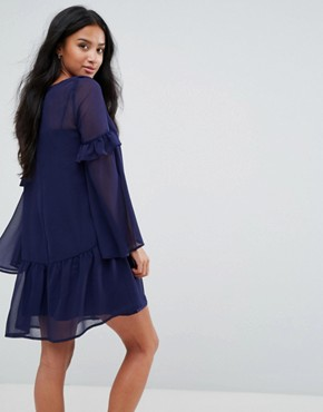 photo Mini Shift Dress with Pep Hem by ASOS PETITE, color Navy - Image 2