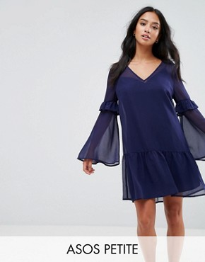photo Mini Shift Dress with Pep Hem by ASOS PETITE, color Navy - Image 1