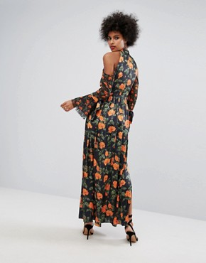 photo Maxi Dress with Fluted Tie Sleeves in Floral Print by Horrockses, color Multi - Image 2