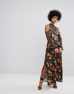 photo Maxi Dress with Fluted Tie Sleeves in Floral Print by Horrockses, color Multi - Image 4