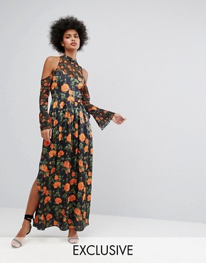photo Maxi Dress with Fluted Tie Sleeves in Floral Print by Horrockses, color Multi - Image 1