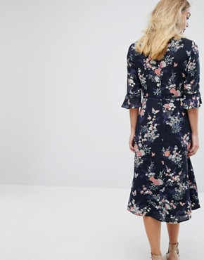 photo Floral Fluted Sleeve Midi Dress by Oasis, color Multi - Image 2