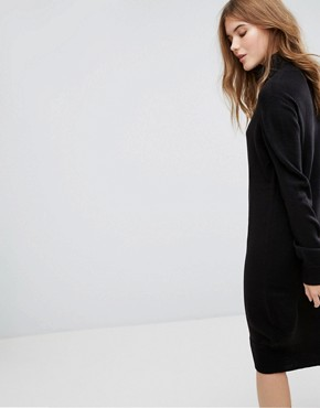 photo Long Sleeve High Neck Knitted Dress by JDY, color Black - Image 2