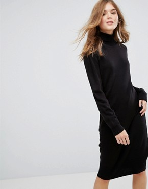 photo Long Sleeve High Neck Knitted Dress by JDY, color Black - Image 1
