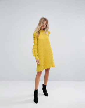 photo Ruffle Sleeve Shift Dress by Y.A.S, color Yellow - Image 4