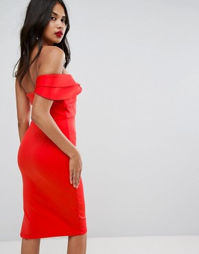 photo One Shoulder Folded Bodycon Midi Dress by ASOS, color Red - Image 2