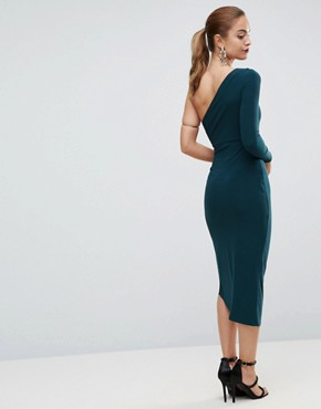 photo One Shoulder Ring Detail Midi Bodycon Dress by ASOS, color Green - Image 2