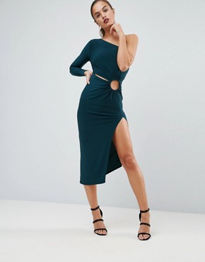 photo One Shoulder Ring Detail Midi Bodycon Dress by ASOS, color Green - Image 1