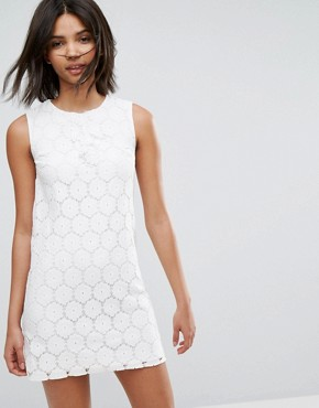 photo Lace A-Line Mini Dress by Oasis, color Off White - Image 1